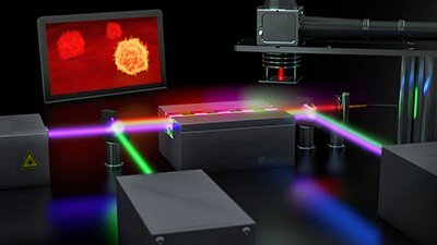 Quantum imaging setup for the microscopic examination of cancer cells. Credit: Fraunhofer IOF