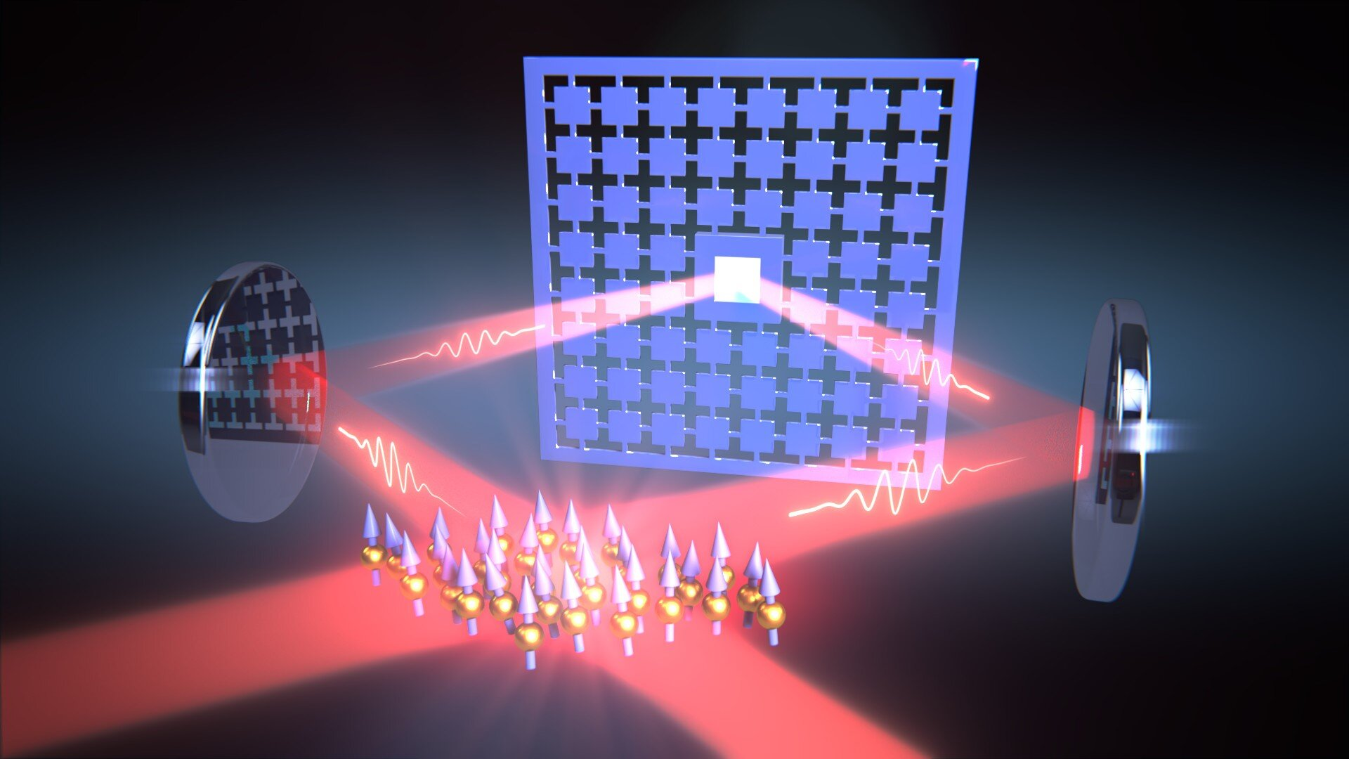 A loop of laser light connects the oscillations of a nanomechanical membrane and the spin of a cloud of atoms. Credit: University of Basel, Department of Physics