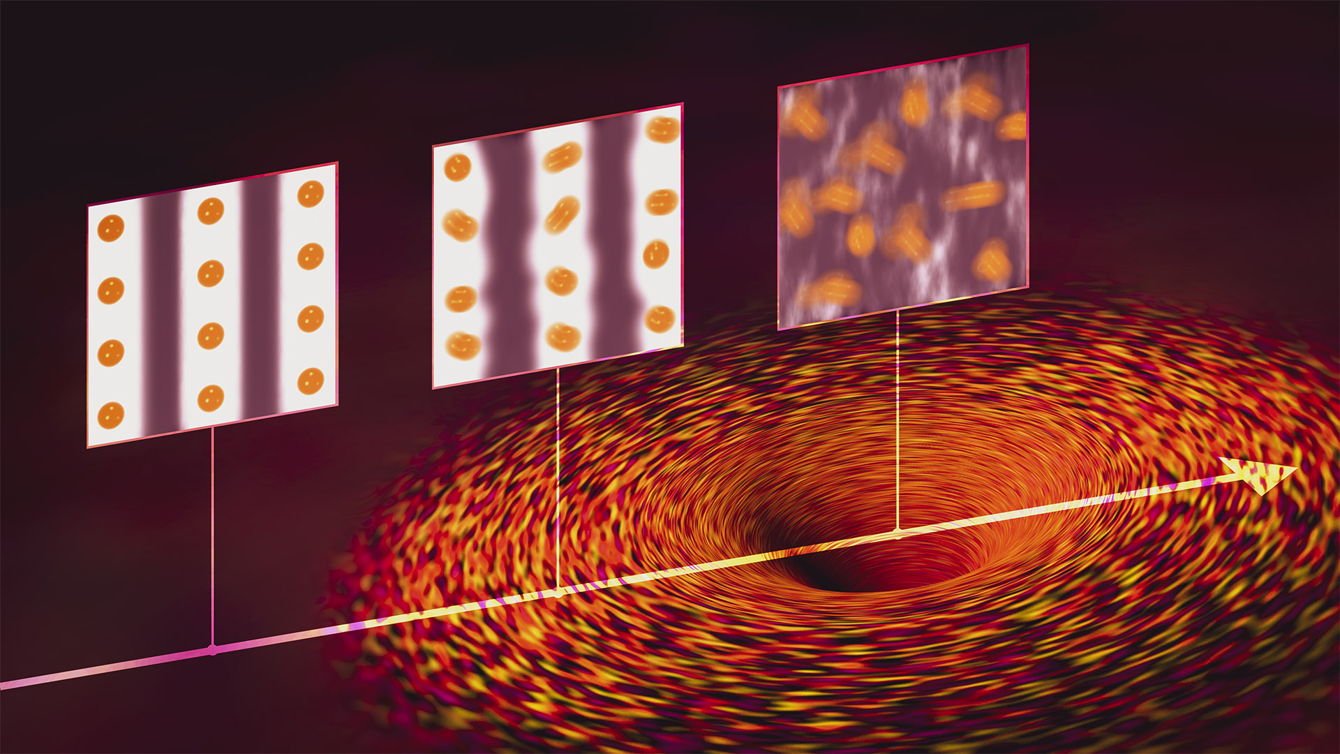 Much like black holes (bottom right) are singularities in space, quantum critical points (QCPs) are point-like intersections between different states of a quantum material where all sorts of strange electron behavior are predicted to occur. A SLAC study found strong evidence for one such behavior: As a cuprate superconductor was tuned toward a QCP in the superconducting state at low temperatures, a proliferation of quantum fluctuations gradually melted charge stripes (from top left) – alternating stripes of stronger and weaker electron density – in the material. (Greg Stewart/SLAC National Accelerator Laboratory)