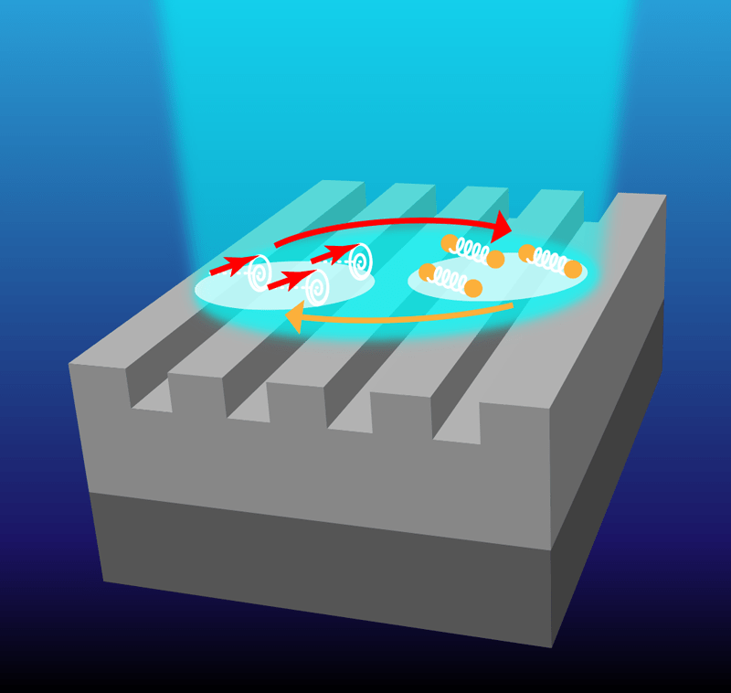 In a nanopatterned magnetic structure illuminated by a short laser pulse, magnons and photons couple to form quasiparticles called magnon-polarons.