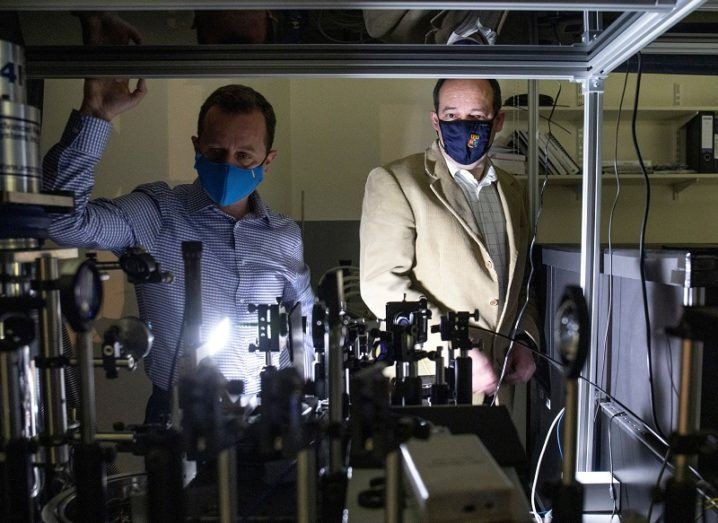 From left: Emanuele Pelucchi and Georgios Fagas in the cryogenic quantum optics laboratory at Tyndall National Institute. Image: Clare Keogh