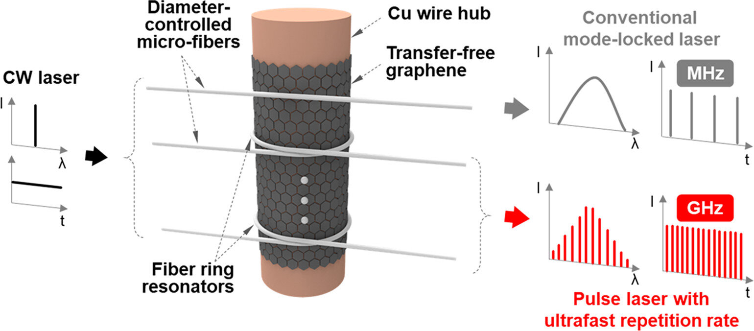 Graphene(Gf) was synthesized directly on the surface of a Cu wire that acted as a hub for diameter-controlled micro-fibers(DCMFs) to form the ring resonator. The Gf layer physically contacted with the DCMFs for the nonlinear interaction with fully minimized damage. Conventional Gf mode-locking scheme without a ring resonator is compared with the proposed scheme. Also, scalability toward multichannel operation is described. Credit: Korea Institute of Science and Technology (KIST)