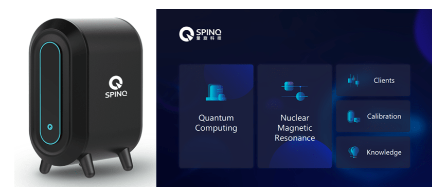 The photo of Gemini (left) and the homepage of SPINQUASAR (right). The Gemini connects with a personal computer (PC) installed with SPINQUASAR. SPINQUASAR provides an interface for the users to manipulate the desktop quantum computer.
