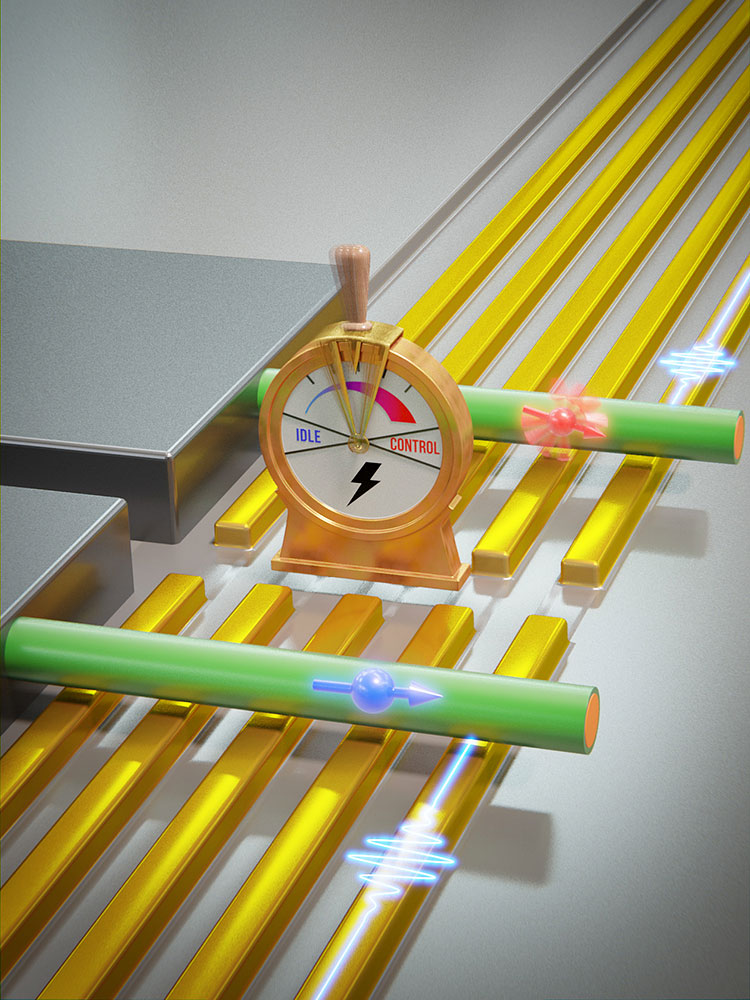 Electrically switchable qubit: a nanowire made of germanium and silicon (blue/green) lies on electrodes known as gates (gold). Voltages applied to the gates lead to the formation of individual spin qubits (blue and red arrows) that can be manipulated by microwave signals (blue pulse). In one mode, the qubit is slow and the quantum information is more stable (blue spin). In the other, the qubit can be changed more quickly (red spin). (Image: University of Basel, Department of Physics)
