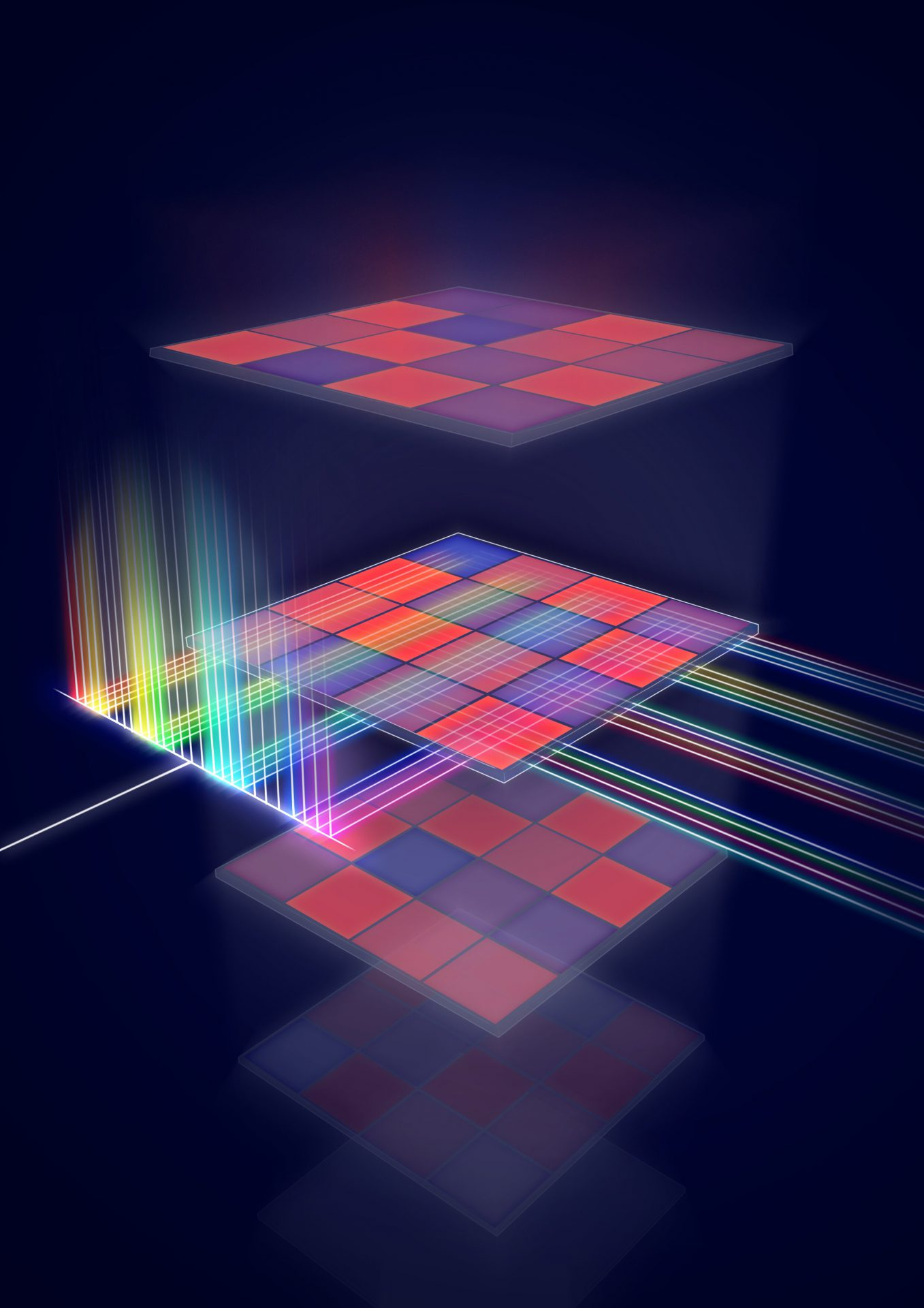 Schematic representation of a processor for matrix multiplications that runs on light. Credit: University of Oxford