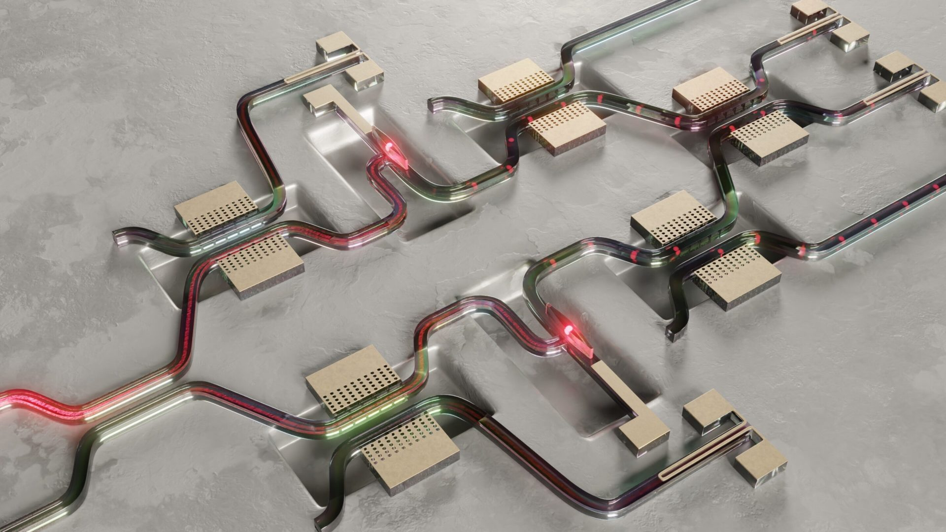 Illustration of a controlled quantum circuit enabled by the reported heat-free switches. Credit: Lucas Schweickert